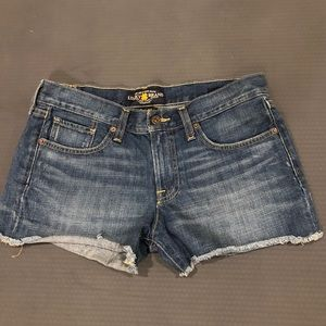 Lucky Brand Raw hem the cut off jean shorts 27